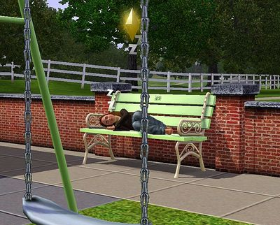 Homeless in The Sims: Alice sleeps on a park bench