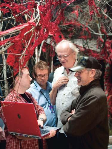 Spielberg with Dan Gregoire, Adam Somner, and Dennis Muren