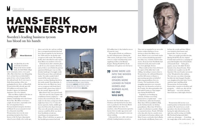 Mikael Blomkvist's exposé of Hans-Erik Wennerström