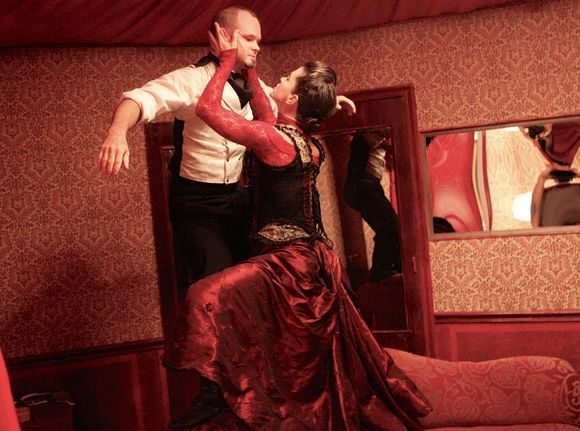 Rebekah Morin as the Red Queen, Tom Pearson as the White Rabbit