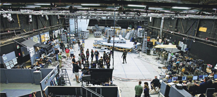 James Cameron (center, in black T-shirt) on the Playa Vista soundstage